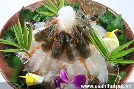 Sashimi tôm Nhật.