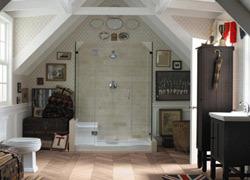 Sắc màu vintage cho không gian phòng tắm
