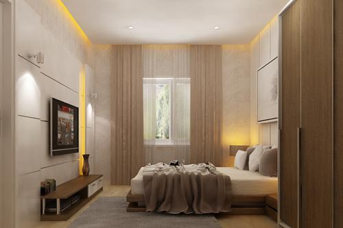 Phòng ngủ giành cho người lớn tuổi tại tầng trệt để tiện đi lại.