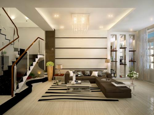 Đèn hắt từ trần nhà, hay hốc tường cho phòng khách thêm lung linh.