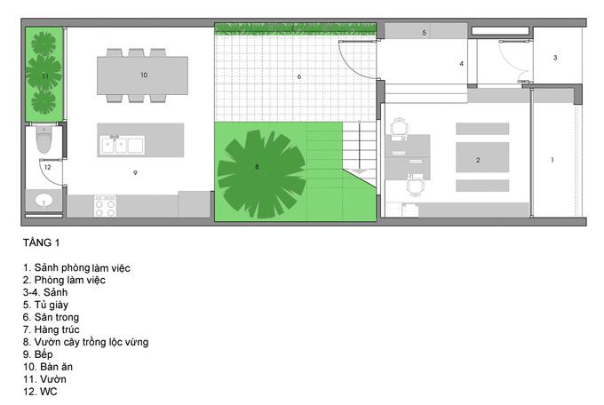 Không gian thoáng đãng với vườn cây giữa nhà