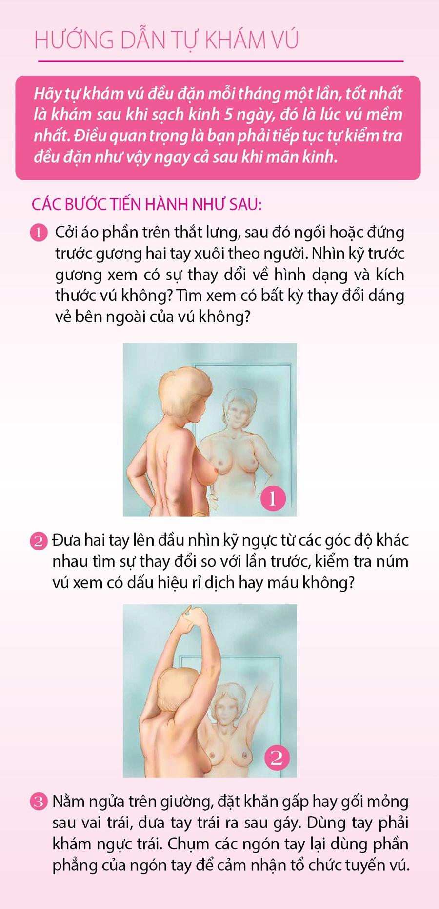 5 bước tự kiểm tra ngực để phát hiện sớm ung thư vú