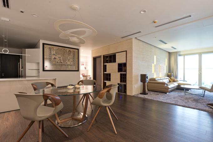 Không gian sum họp ấm áp trong căn hộ 170 m2