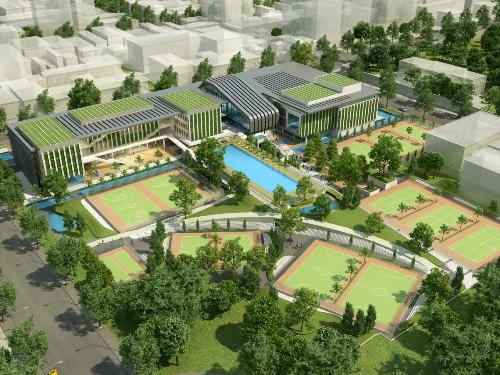 Thiết kế của phương án dành giải nhất cuộc thithiết kế kiến trúc Cung Văn hóa Lao động TP HCM.