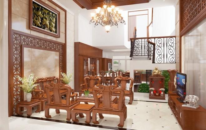 Xây nhà 4 tầng chất liệu gỗ phong cách châu Á