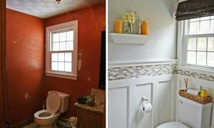 Nhà tắm chật hẹp trở nên sáng sủa sau cải tạo