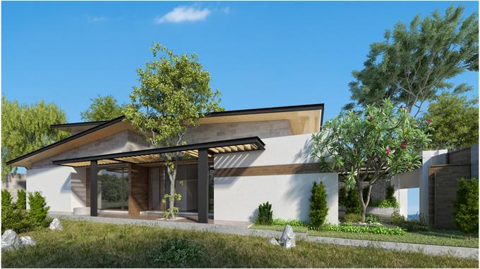 Thiết kế nhà một tầng 3 phòng ngủ giữa vườn cây xanh