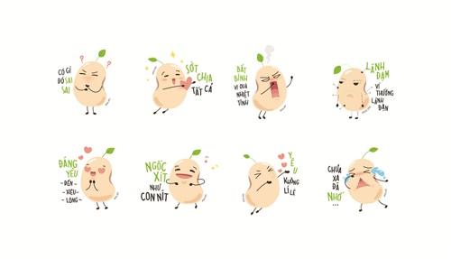 Biểu tượng cảm xúc gia đình Famicon với hình ảnh nhân vật hạt đậu nành đáng yêu.