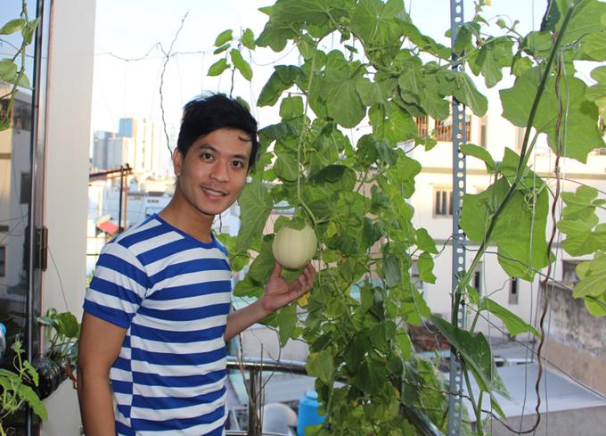 Biên tập viên radio vác đất lên tầng 5 để trồng dưa lê