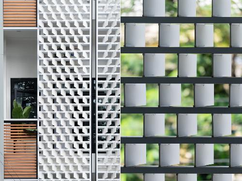 Hệ lam xéo được thiết kế thẩm mỹ với bố cục, tỷ lệ hợp lý, giảm tác động của nắng hướng Tây vào trong ngôi nhà. Ngoài ra với hệ lam được xếp xéo về 2 bên, giúp công trình có thể đón gió từ 2 hướng.