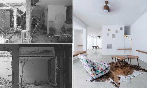 Ngôi nhà Hà Nội sáng bừng sau khi đục thủng mái