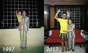 Bức ảnh hai bà cháu sau 20 năm trong cùng bộ đồ hút nghìn lượt xem