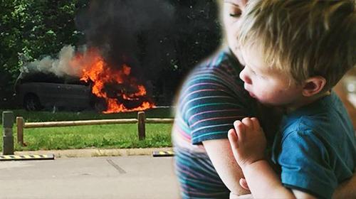 Quyết định nhanh trí của mẹ cứu 5 con khỏi chiếc xe bốc cháy