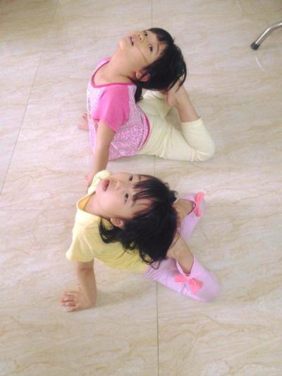 Hai bé đều sở hữu sở thích giống ba mẹ là uốn dẻo và nhào lộn