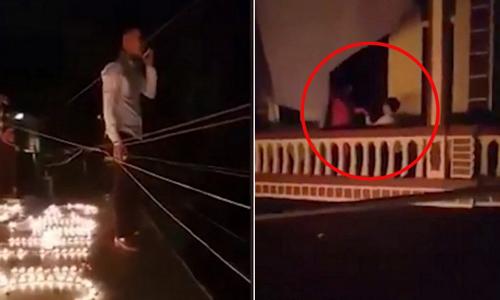 Chàng trai Hà Nội bắc thang leo nhà bạn gái cầu hôn lúc 1 giờ sáng