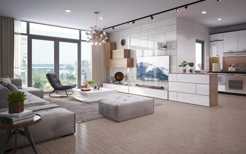 Với mục đích mang đến một phòng khách thượng lưu và đầy đủ các tiêu chí nêu trên, bản thiết kế phòng khách được trình bày với từng mảng hình khối gỗ, màu sắc trang nhã giúp làm nổi bật các đường nét hoa văn trang trí trên tường.