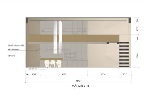 Tuy nhiên, nếu quá vuông vức, không gian sẽ có phần thô cứng. Để giải quyết điều đó, chiếc bàn tròn, bộ sofa và bàn ghế ăn với những đường cong nhẹ giữa bếp và phòng khách sẽ làm mềm không gian.
