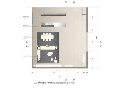 Đồ đạc trong nhà được tiết giảm để tạo sự thoáng đãng. Toàn bộ đường nét kiến trúc là những đường thẳng góc cạnh vuông vức.