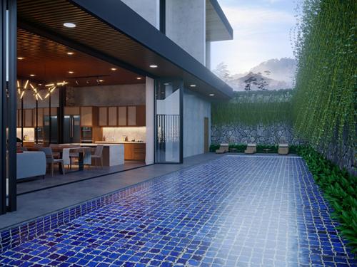Thiết kế phối theo tông màu chủ đạo là xanh của cây và nâu gỗ, tạo không gian nhẹ nhàng, trầm ấm.