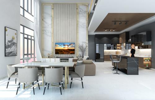 Khu vực phòng khách trong căn hộ Pentvilla với vị trí trung tâm, kết nối  hầu hết các không gian chức năng phụ trợ và đóng vai trò là trái tim của ngôi nhà.
