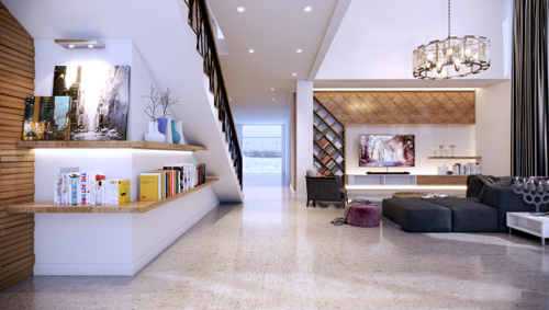 Phòng khách được thiết kế với gam màu gỗ trầm xen lẫn các sắc tím, tím hồng nhưng vẫn tạo được những điểm nhấn thú vị trong không gian, phù hợp với yêu cầu của gia chủ.