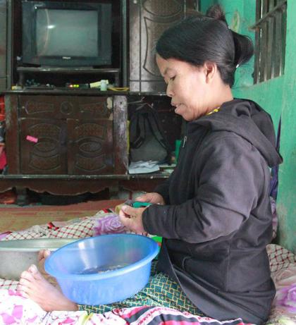 Nghề bóc tâm sen mang lại thu nhập hơn 12 nghìn đồng mỗi ngày cho gia đình chị Bình. Ảnh: Phan Dương.