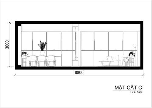 Điểm nhấn của căn phòng còn nằm ở kệ TV được bố trí ở giữa phòng khách và bàn ăn, liên kết đụng trần, sử dụng vật liệu phản chiếu và tương phản. T