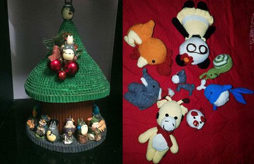 Anh Tùng tự tay làm cây thông Noel cho vợ từ bìa và tự móc đồ chơi cho con gái.