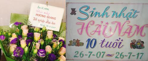 Tự tay ông ngoại viết những dòng chữ trên bó hoa tặng cháu gái, trang trí sinh nhật cho cháu trai.