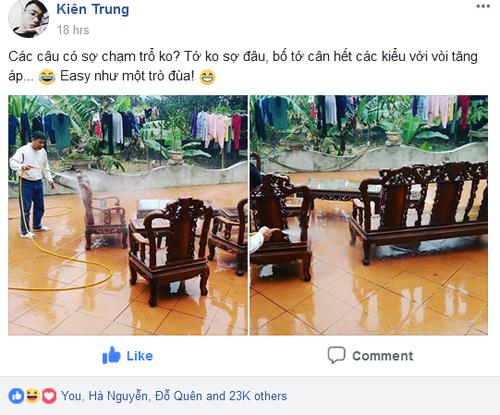 Chia sẻ của Kiên trên Facebook nhận được tới 23.000 lượt thích với rất nhiều bình luận. Bố của Kiên nghĩ ra cách vệ sinh ghế đơn giản. Ảnh: Trung Kiên.