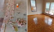 Thành quả bất ngờ của cô gái tỉ mỉ xếp gỗ vụn thành sàn nhà