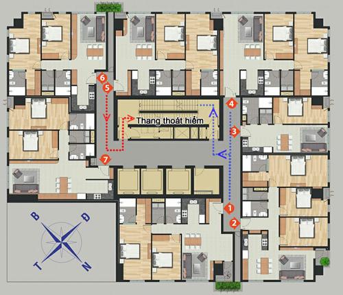 Khu chung cư trong hình đạt chuẩn khi có 7 hộ gia đình trên một tầng dùng chung 2 thang thoát hiểm.