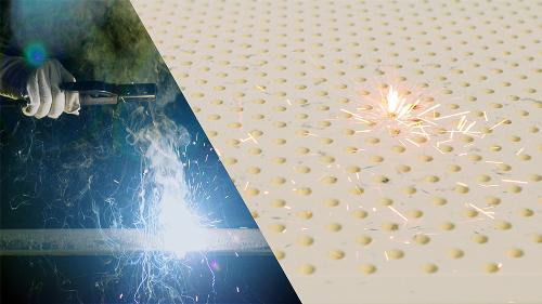 Nệm Kymdan không bắt lửa với những hạt kim loại ở nhiệt độ cao được phóng ra từ tia lửa hàn điện (hồ quang), khoảng cách giữa mặt tấm nệm và mặt thanh hàn là 10cm, khởi động máy hàn có cường độ dòng diện là 155A liên tục trong 2 phút.