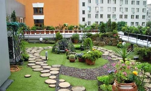 Vườn trên mái đòi hỏi phải thi công chống thấm rất kỹ càng. Ảnh minh họa: Homebut.