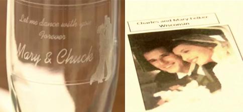 Chiếc ly và ảnh của đôi vợ chồng hạnh phúc, mang đến niềm vui cho đôi uyên ương trong ngày cưới.