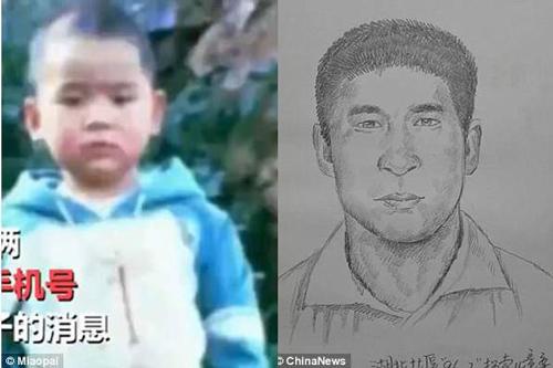 Hình ảnh anh Peng được cảnh sát phác họa từ lúc nhỏ tới lúc lớn. Ảnh: Chinanews.