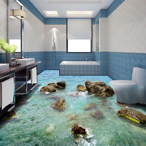 Ở khu vực phòng tắm, kiểu mẫu phổ biến đều liên quan tới nước như sông, hồ, biển, cá...