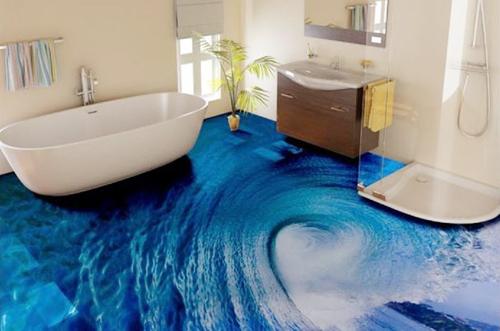Sàn nhà màu xanh tạo điểm nhấn cho phòng tắm có tông màu trắng.