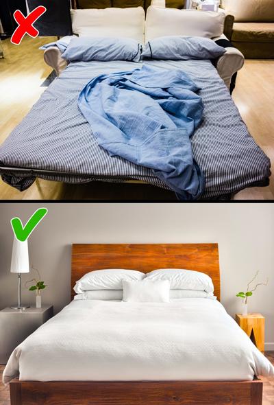 Sofa mở thành giường: Trừ khi nhà quá hẹp và có khách tới chơi thường xuyên, bạn mới nên lựa chọn những chiếc sofa giường. Trên thực tế, kiểu nội thất này thường có tuổi thọ ngắn hơn, thường phải bảo trì. Nếu bạn là người lười, chiếc giường sẽ ở nguyên trạng suốt cả ngày, chứ không được gập lại thành sofa gọn gàng như ban đầu.