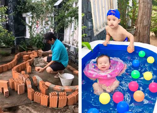 Ông bố Việt xây bể bơi mini cho con khiến người nước ngoài thích thú - 1