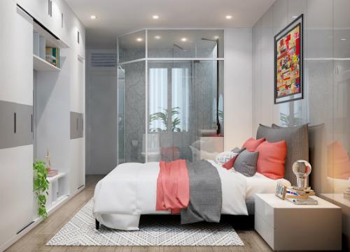 Nhà vệ sinh có vách ngăn bằng kính trong phòng ngủ là mẫu hiện được nhiều người yêu thích.