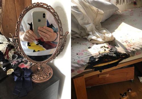 Chiếc gương chiếu vào giường gây cháy một góc đệm.
