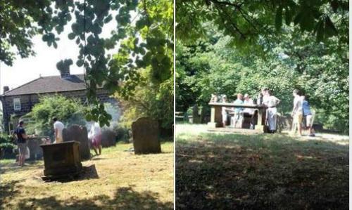 Hình ảnh gia đình nướng thịt phản cảm trên ngôi mộ. Ảnh: The Sun.