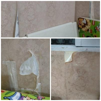 Giấy dán bung ra khiến tường nham nhở.