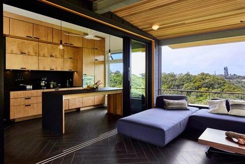 Không gian mở nối liền phòng khách và phòng bếp.
