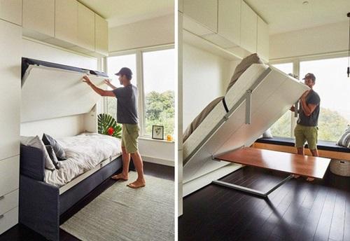 Chỉ vài thao tác, chiếc giường âm lại gọn gàng nằm trên tường ban ngày.