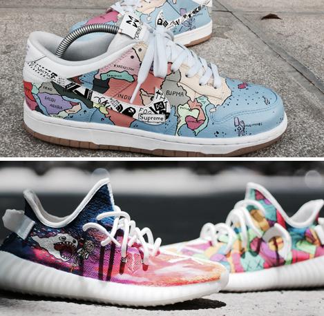 Một đôi Nike trắng tinh được chủ nhân giao cho cửa hàng vẽ màu. Ảnh: Phan Dương.