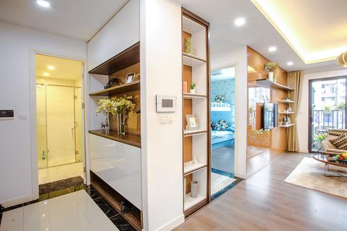 Thiết kế của các căn hộ luôn tối ưu không gian, tận dụng những ngõ ngách làm vị trí để đồ.