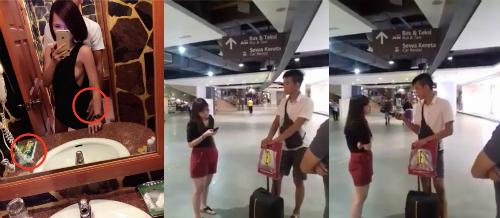 Bức ảnh trong khách sạn (trái) đã tiết lộ chồng Amanda ở bên bồ khi đi nghỉ ở Thái Lan. Cô đã mang bằng chứng đến hỏi ngay khi anh ta xuống sân bay trở về.