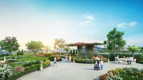 Hình ảnh vườn trên cao tại Imperia Sky Garden, các tầng cây có chiều cao vừa phải, nhiều thảm cỏ xanh đan nhiều loài hoa,có thể giúp kích thích trí tò mò, óc tưởng tưởng cho các bé khi vui chơi tại đây.